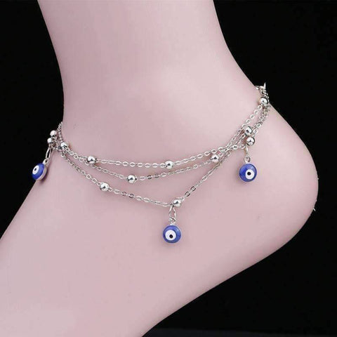Feshionn IOBI Anklets Silver Chain ON SALE - Evil Eye Layered Ankle Bracelet In Silver or Gold