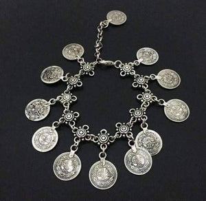 Feshionn IOBI Anklets Silver ON SALE - Vintage Patina Gypsy Coin Dangling Chain Ankle Bracelet