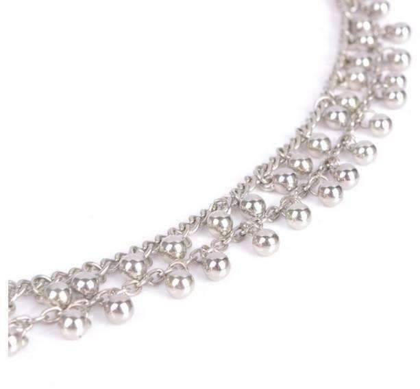 Feshionn IOBI Anklets Silver Tiny Dancing Bells Double Layer Silver Bead Ankle Bracelet