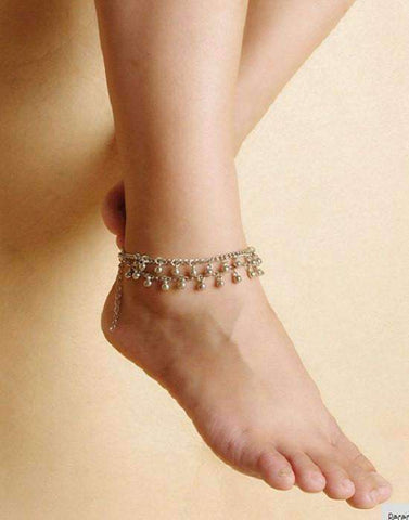 Feshionn IOBI Anklets Tiny Dancing Bells Double Layer Silver Bead Ankle Bracelet
