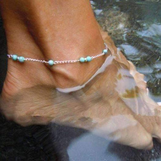 Feshionn IOBI Anklets Turquoise Turquoise Bead Anklet