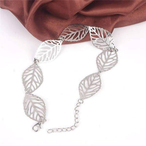 Feshionn IOBI Anklets White Gold Anklet Seasons of Beauty Leaf Cut Out Ankle Bracelet