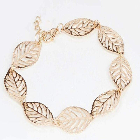 Feshionn IOBI Anklets Yellow Gold Anklet Seasons of Beauty Leaf Cut Out Ankle Bracelet