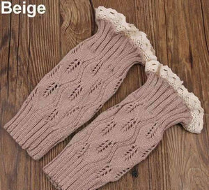 Feshionn IOBI Apparel beige Lacey Leg Warmer Boot Knit Socks