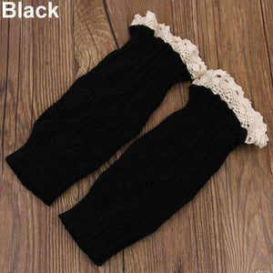 Feshionn IOBI Apparel black Lacey Leg Warmer Boot Knit Socks