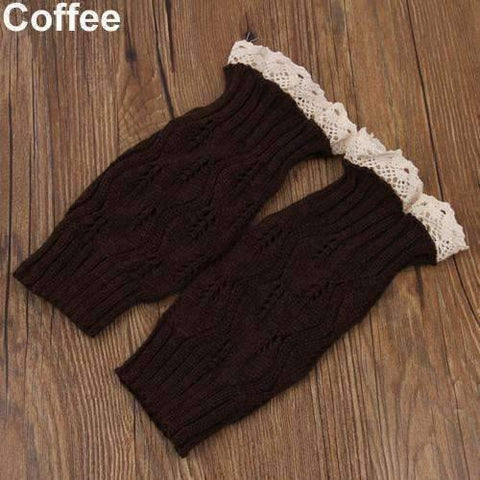 Feshionn IOBI Apparel coffee Lacey Leg Warmer Boot Knit Socks