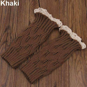 Feshionn IOBI Apparel khaki Lacey Leg Warmer Boot Knit Socks
