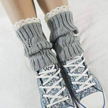 Feshionn IOBI Apparel light grey Lacey Leg Warmer Boot Knit Socks