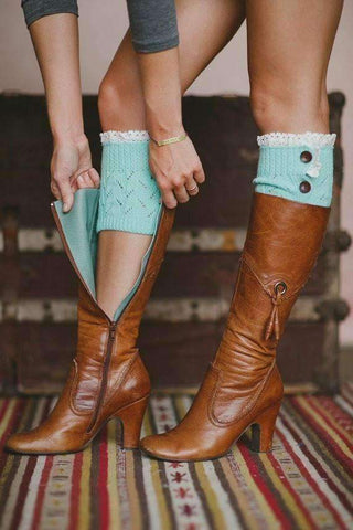 Feshionn IOBI Apparel mint blue Lacey Leg Warmer Boot Knit Socks