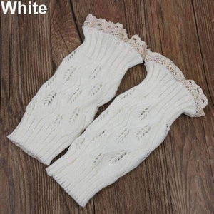 Feshionn IOBI Apparel white Lacey Leg Warmer Boot Knit Socks