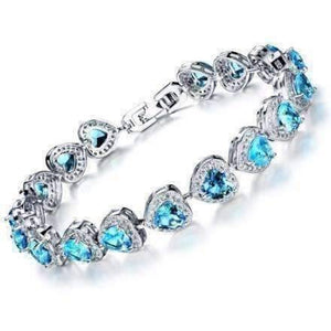 Feshionn IOBI bracelets 17 / Dreamy Blue ON SALE - Love Game CZ Heart Tennis Bracelet
