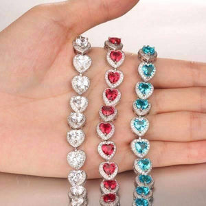 Feshionn IOBI bracelets 17 / Passion Red ON SALE - Love Game CZ Heart Tennis Bracelet