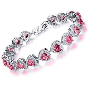Feshionn IOBI bracelets 19 / Passion Red ON SALE - Love Game CZ Heart Tennis Bracelet
