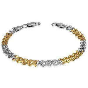 Feshionn IOBI bracelets 4mm-8.75 inch Thin Cuban Link Two Tone Stainless Steel Men's Bracelet - Three Sizes Available