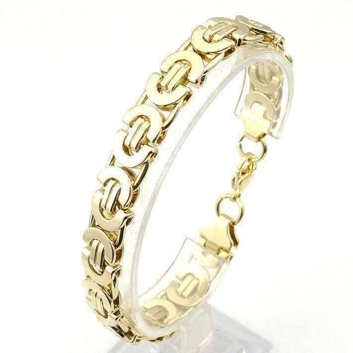 Feshionn IOBI bracelets 9.5 / Gold Alpha 8mm Flat Byzantine Link 18K Gold Plated Stainless Steel Men's Bracelet