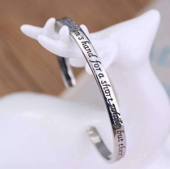 Feshionn IOBI bracelets Silver A Mother Holds Her Children's Hand Inspirational Stamped Bangle Bracelet