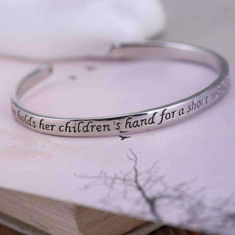 Feshionn IOBI bracelets A Mother Holds Her Children's Hand Inspirational Stamped Bangle Bracelet