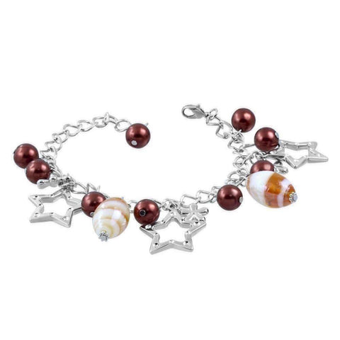 Feshionn IOBI bracelets Amber Star Studded Glass Bead Silver Charm Bracelet ~ Four Fun Colors to Choose!