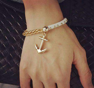 Feshionn IOBI bracelets Anchor Gold Chain and White Suede Studded Bracelet