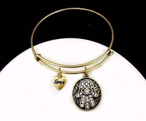Feshionn IOBI bracelets Antique Gold CLEARANCE - Love & Protection Hamsa Adjustable Bangle Bracelet - 4 Colors