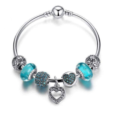 Feshionn IOBI bracelets Aqua Inspiration Aqua Glass & Crystal Hearts Silver Bangle Bracelet
