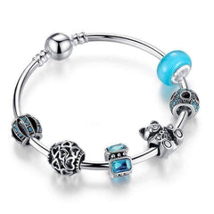 Feshionn IOBI bracelets Aqua ON SALE - Beary Cute Aqua Crystal & Hearts Silver Bangle Bracelet