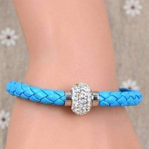 Feshionn IOBI bracelets Aqua ON SALE - French Braid Shamballa Magnetic Bangle Bracelet