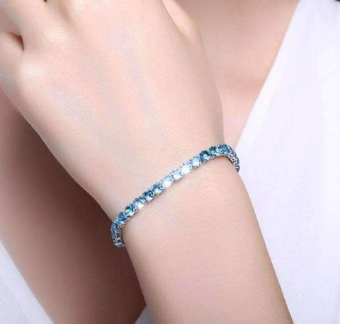 Feshionn IOBI bracelets Aquamarine / 17 ON SALE - Petite Luxe 4mm Swiss CZ Tennis Bracelet