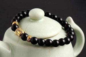 Feshionn IOBI bracelets Black Agate ON SALE - Buddha Bead Genuine Agate Gemstone Bracelet