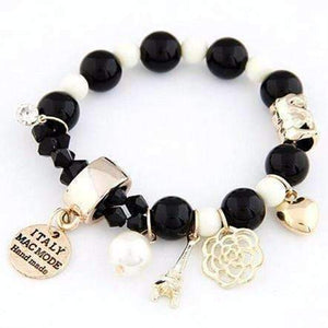 Feshionn IOBI bracelets Black and White European Tour Charm Bead Bracelet