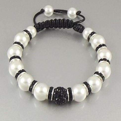 "Feshionn IOBI bracelets Black and White ""Uber Shamballa"" Bracelet - Black and White Pearl"
