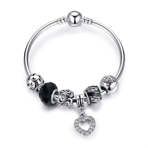 Feshionn IOBI bracelets Black ON SALE - Love & Family Black Glass Silver Bangle Bracelet