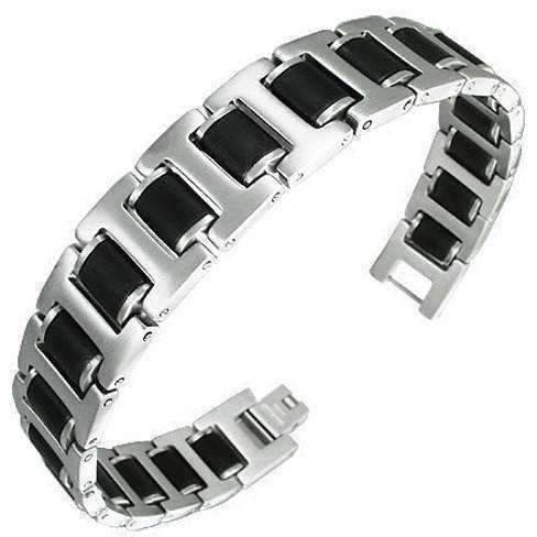 Feshionn IOBI bracelets Black Rubber Matte Finish Panther Link Bracelet For Men