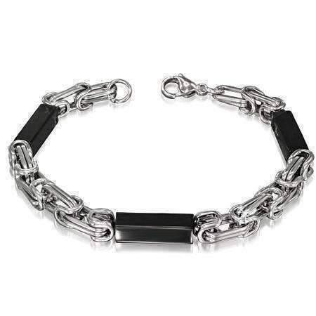 Feshionn IOBI bracelets Black Sleek Mechanic's Link Black & Stainless Steel Men's Bracelet