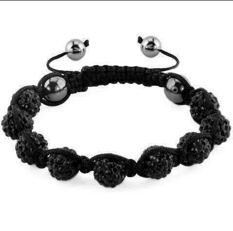 Feshionn IOBI bracelets Black Sparkly Crystals Hand Made Shamballa - Black Crystal and Hematite Shamballa Bracelet