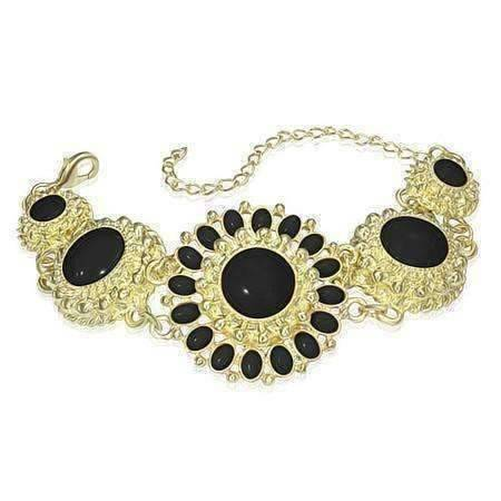 Feshionn IOBI bracelets Black Vintage Journey Flower Medallion Bracelet in Three Colors