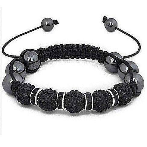 "Feshionn IOBI bracelets Black with Gold ""Uber Shamballa"" Bracelet - Black Hematite with Silver or Gold Accents"