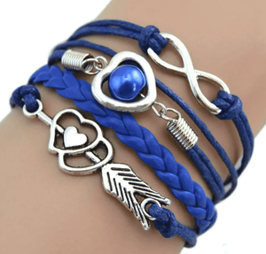 Feshionn IOBI bracelets Blue Forever Love Handmade Braided Leather Friendship Bracelet - Three Colors To Choose