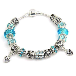 Feshionn IOBI bracelets Blue ON SALE - Happy Blue European Style 925 Silver Charm Bracelet