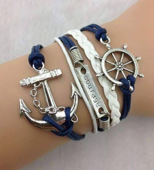 Feshionn IOBI bracelets Blue & White Smooth Sailing Handmade Leather Friendship Bracelet