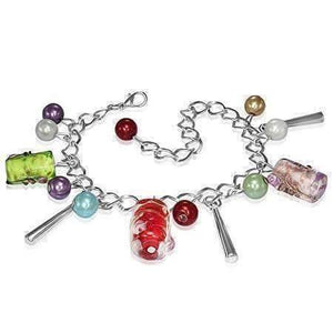 Feshionn IOBI bracelets Bright Multi Barrel Lamp Work Glass Beaded Charm Bracelet ~ Two Classy Colors to Choose