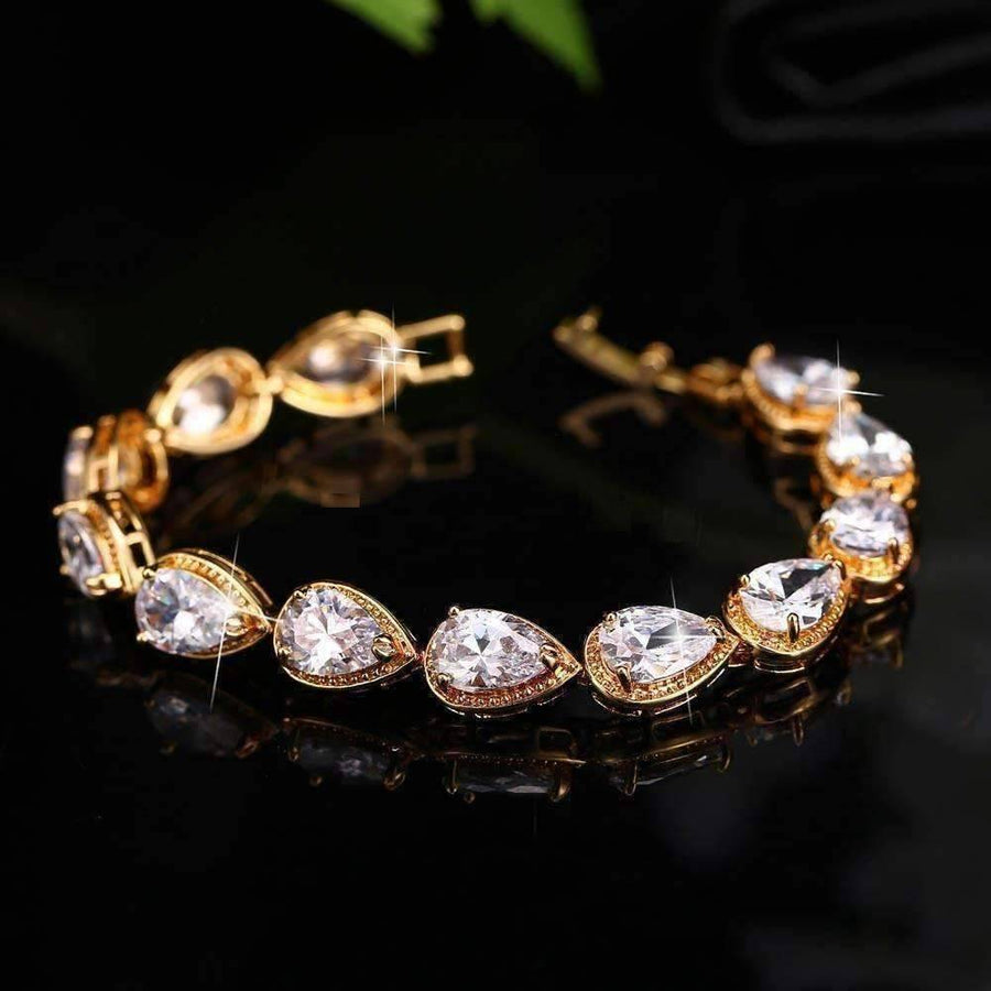 Feshionn IOBI bracelets Myriad of Gems Graceful Water Drop CZ 18k Gold Plated Bracelet