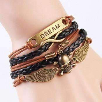 Feshionn IOBI bracelets Bronze Fantasy Skull and Wings Handmade Friendship Bracelet