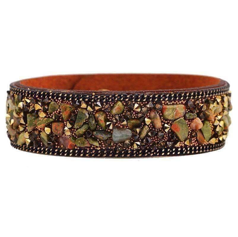 Feshionn IOBI bracelets ON SALE - Treasure Gemstone Encrusted Sueded Leather Wrap Bracelet ~ Six Earthy Colors