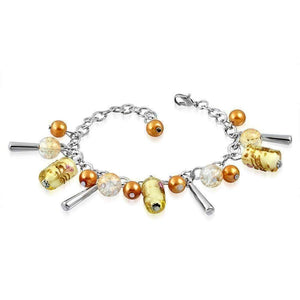 Feshionn IOBI bracelets Classy Gold Barrel Lamp Work Glass Beaded Charm Bracelet ~ Two Classy Colors to Choose