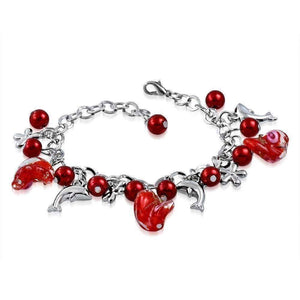 Feshionn IOBI bracelets Coral Red Sea Glass Dolphin Charm and Bead Bracelet ~ Three Colors to Choose