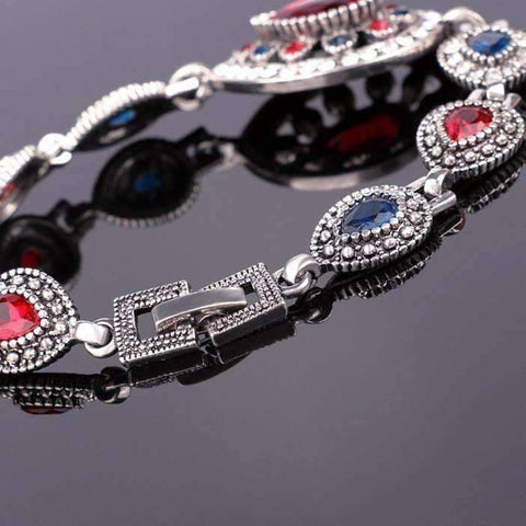 Feshionn IOBI bracelets Crimson and Cobalt Crystal Tear Drop Vintage Inspired Silver Bracelet