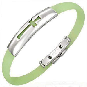 Feshionn IOBI bracelets Cross Lime Green Silicone Bracelet with Stainless Steel Cut Out Designs ~ Choose Your Design
