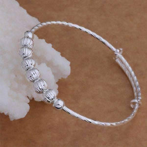 Feshionn IOBI bracelets Diamond Cut Beaded Adjustable Sterling Silver Bangle Bracelet