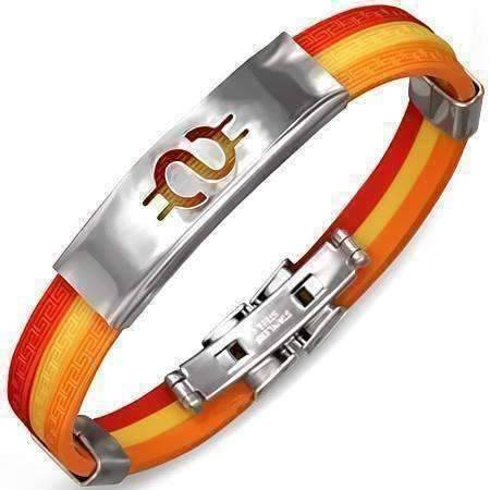 Feshionn IOBI bracelets Dollar Sign Tri-Color Triple Band Silicone Bracelet with Stainless Steel Cut Out Designs ~ Choose Your Design